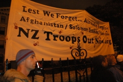 ANZAC Day protest banner